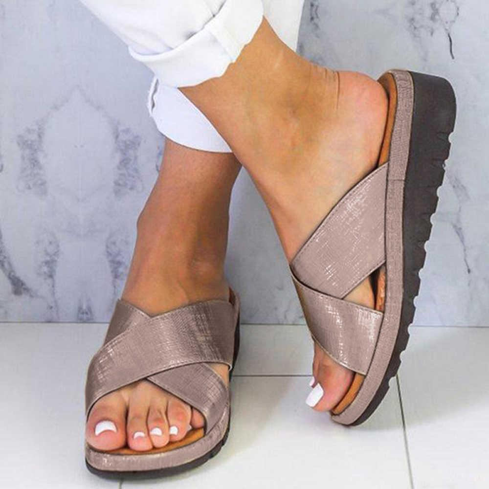 Cuneo Confortevole Appartamento di Vibrazione di Cadute di Donne casual Klapki Damskie Lato Morbido Piattaforma Open Toe Correzione Del Piede Pantofole Scarpe