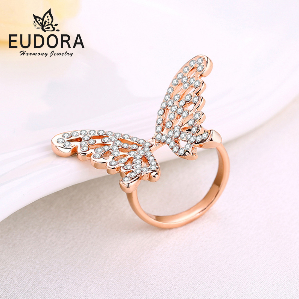 Rose Gold Ring Filled With CZ Classic Beautiful Butterfly ...