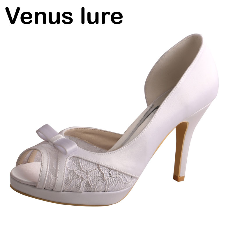 Venus Lure Open Toe White High Heel Lace Shoes Wedding for Women Bow Pumps ...