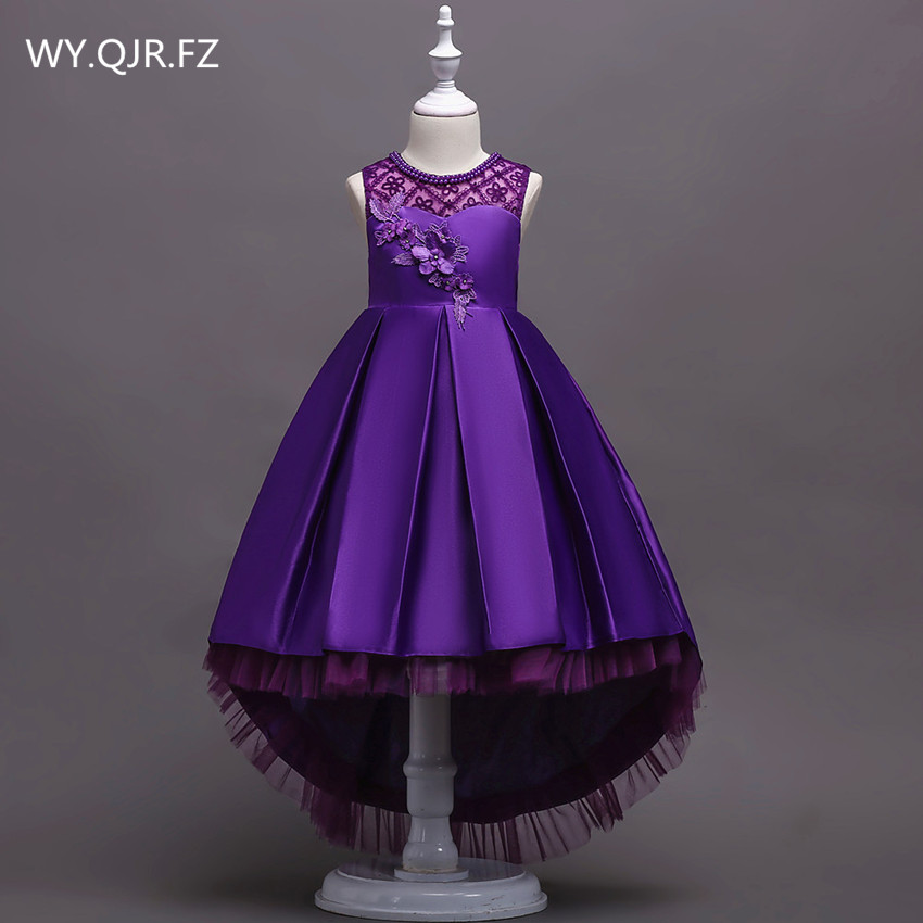 BH580#Pruple pink Trailing Lace   Flower     Girl     Dresses   party prom Children's performance   dress   wholesale European American fashion