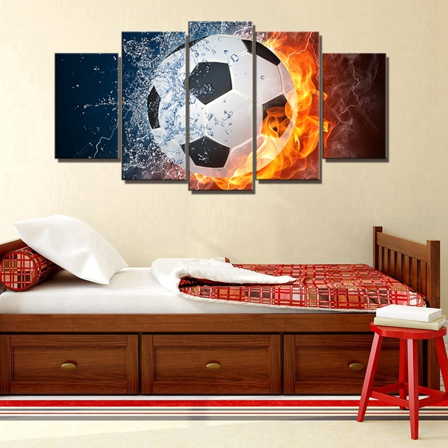Fire And Water Football Wall Art Canvas Print Rugby Sport Wall Decor  Baseball Ball Splashing Thunder