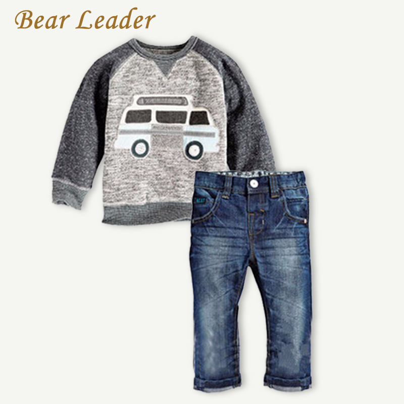Bear Leader Autumn Children Boys Clothes Sets Long Sleeve T-shirt+Jeans 2pcs Kids Suits Cartoon Car Pattern Boys Clothing Sets колонка delux dls q12bb