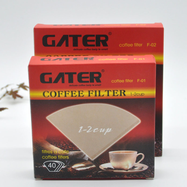 High Quality Coffee Filter Paper 1-2 Cup 3-4 Cup V-Type Primary Color No Bleaching Coffee Filter Tools 40/Box