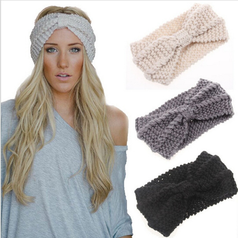 New Women Lady Crochet Bow Knot Turban Knitted Head Wrap Hairband Winter Ear Warmer Headband Hair Band Accessories Headwear