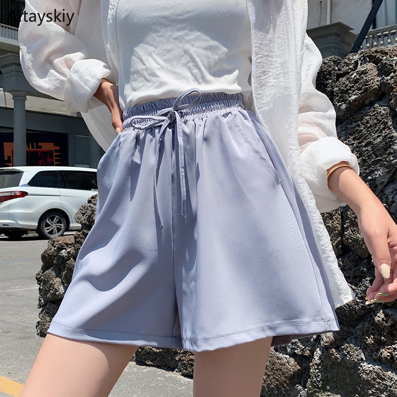 Shorts Women Korean Style Leisure Chic Simple High Quality All-match Summer Loose Elastic Waist Trendy Students 2019 New Womens