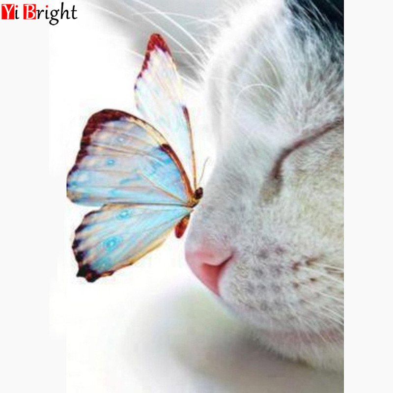 Diamond Mosaic Animals 5D DIY Diamond Painting Butterfly Full Square Drill Cat Picture Of Rhinestone Home Decoration XY1