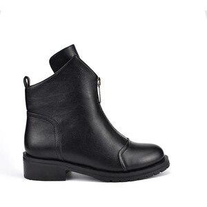 Image 3 - MORAZORA 2020 yeni moda ayakkabılar kadın yarım çizmeler basit fermuar rahat botlar kare topuklu sonbahar kış çizmeler