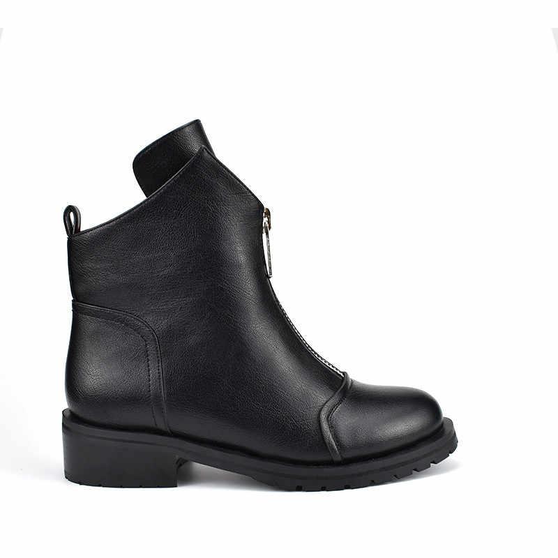 Morazora 2020 Nieuwe Mode Schoenen Vrouw Enkellaars Eenvoudige Rits Comfortabele Laarzen Vierkante Hakken Herfst Winter Laarzen