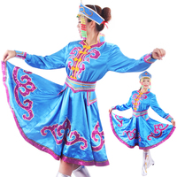 Blue White Mongolian Costume Dance Clothes Chinese Minority Clothing Apparel Mongolia Clothes Dance Costume Dress Stage