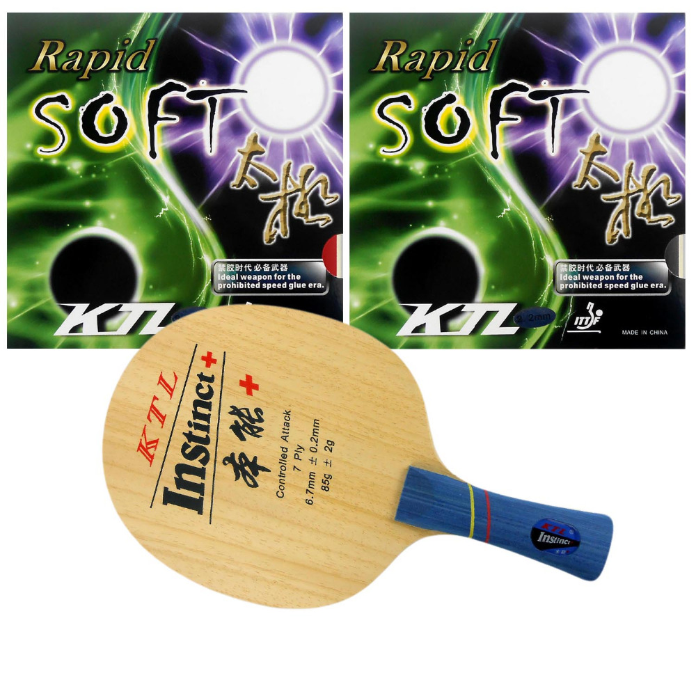 KTL Instinct+ shakehand blade + 2 pieces of KTL Rapid-Soft rubber with sponge for a table tennis racket Long Shakehand FL ...