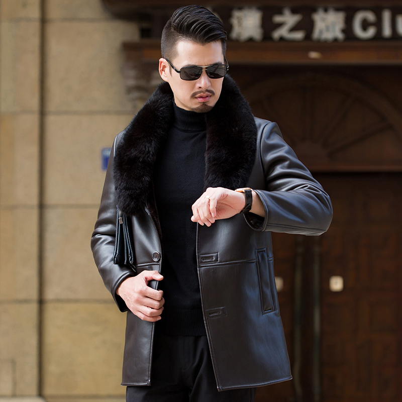 Men leather fur Collar long coat middle age leather fur Clothing Male Winter Outwear Real Fox Fur collar Warm Thick Windbreaker