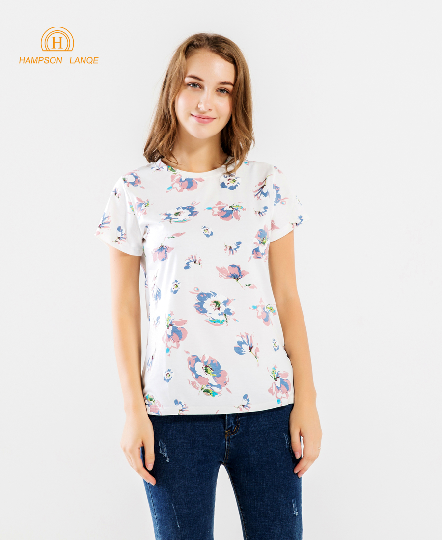 HAMPSON LANQE Nice Flowers Print Elegant Women Summer T Shirt 2019 Cotton Short Sleeve T Shirts Casual Female Tshirt Hipster Top