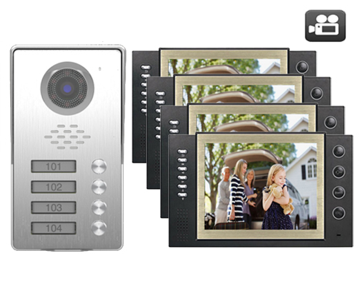 SMTVDP TFT LCD Color 8Video Door Phone Doorbell w/t Record IR Intercom Home Security Video System HD Camera For 4-Apartments