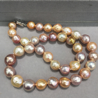10 12MM Baroque Natural freshwater pearl choker necklace multi color classic big pearl necklace fashion women jewelry
