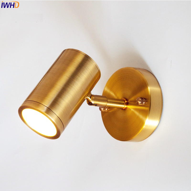 IWHD Nordic Modern LED Wall Lamp Bedside Bedroom Living Room Golden Copper Bathroom Mirror Light LED Wall Lights Fixtures creative led wall lamp hotel bedroom bathroom light living room bedside modern led wall light reading wall lamp mirror lights