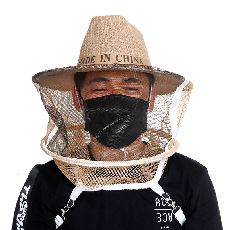Beekeeping Beekeeper Cowboy Hat Mosquito Bee Insect Net Veil Face Head Protector