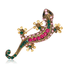Fashion Cute Animal Gecko Brooches Alloy Crystal Women's Brooch Pins Badges Clothes Jewelry Girl Romantic wedding Gifts Supplies