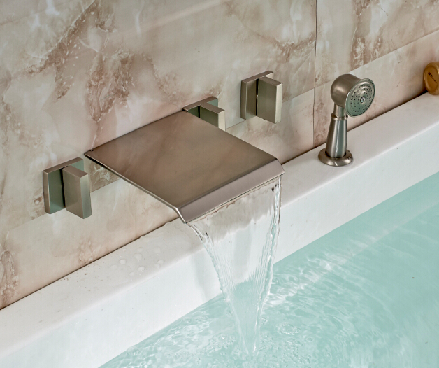 Free Shipping! Wall Mount Nickel Brushed 3 Handles Tub Mixer Tap Waterfall Spout W/ Hand Shower wall mount brushed nickel shower head faucet tub spout mixer hand shower spray