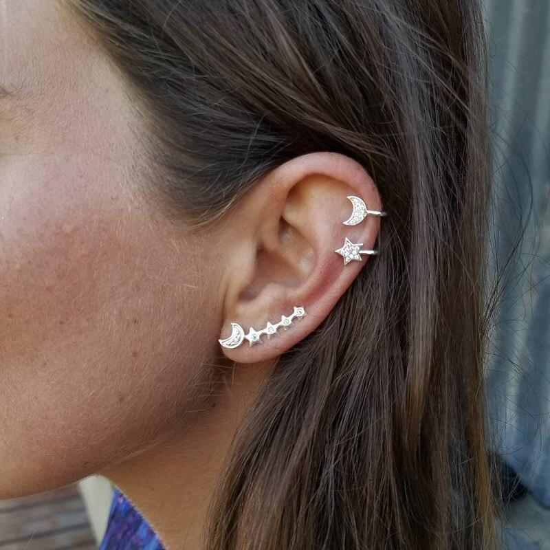 New Simple Star Moon Cuff Earrings for Women Full Rhinestone Ear Clip Earring Set Female Earring Set Mix Jewelry Accessories