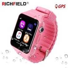 Детские Смарт часы V7k, GPS, с глобальной локацией, детский телефон часы, трекер, камера, анти потеря, SOS, безопасный голосовой вызов PK Q50 Q90