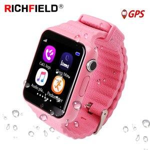 Image 1 - V7k dla dzieci smartwatch GPS globalnej lokalizacji dla dzieci dziecięcy zegarek telefon Finder Tracker aparatu Anti lost SOS bezpieczne połączenie głosowe PK Q50 q90