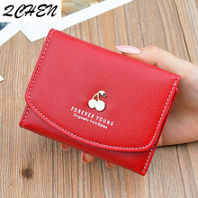 Women's Wallets Money Small Casual Wallet Fashion Female Short Mini All-match Korean Students Purse Small Cherry Wallet 282