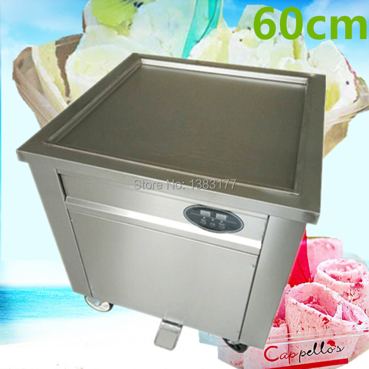 Free shipping 60cm big pan thailand ice roll machine rolled fried ice cream machine single square pan soft ice cream machine free shipping big pan 50cm round pan roll machine automatic fried ice cream rolling rolled machine frying soft ice cream make