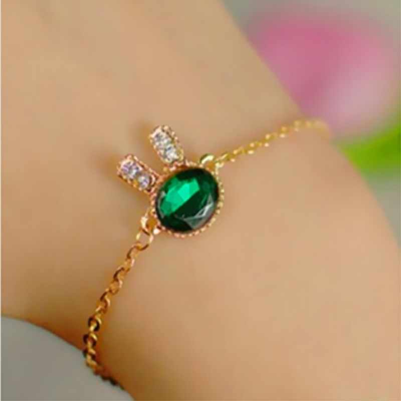 L091 Hot Crystal Mujer Pulseras Girls Bijoux Fashion New Men Green Rabit Bunny Charm Chain Bracelets For Women Jewelry Bangle