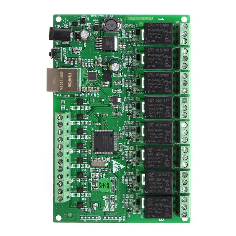 Relé canal 8 Rede IP Web Relé Relé de Controle Duplo Ethernet interface # Aug.26 RJ45