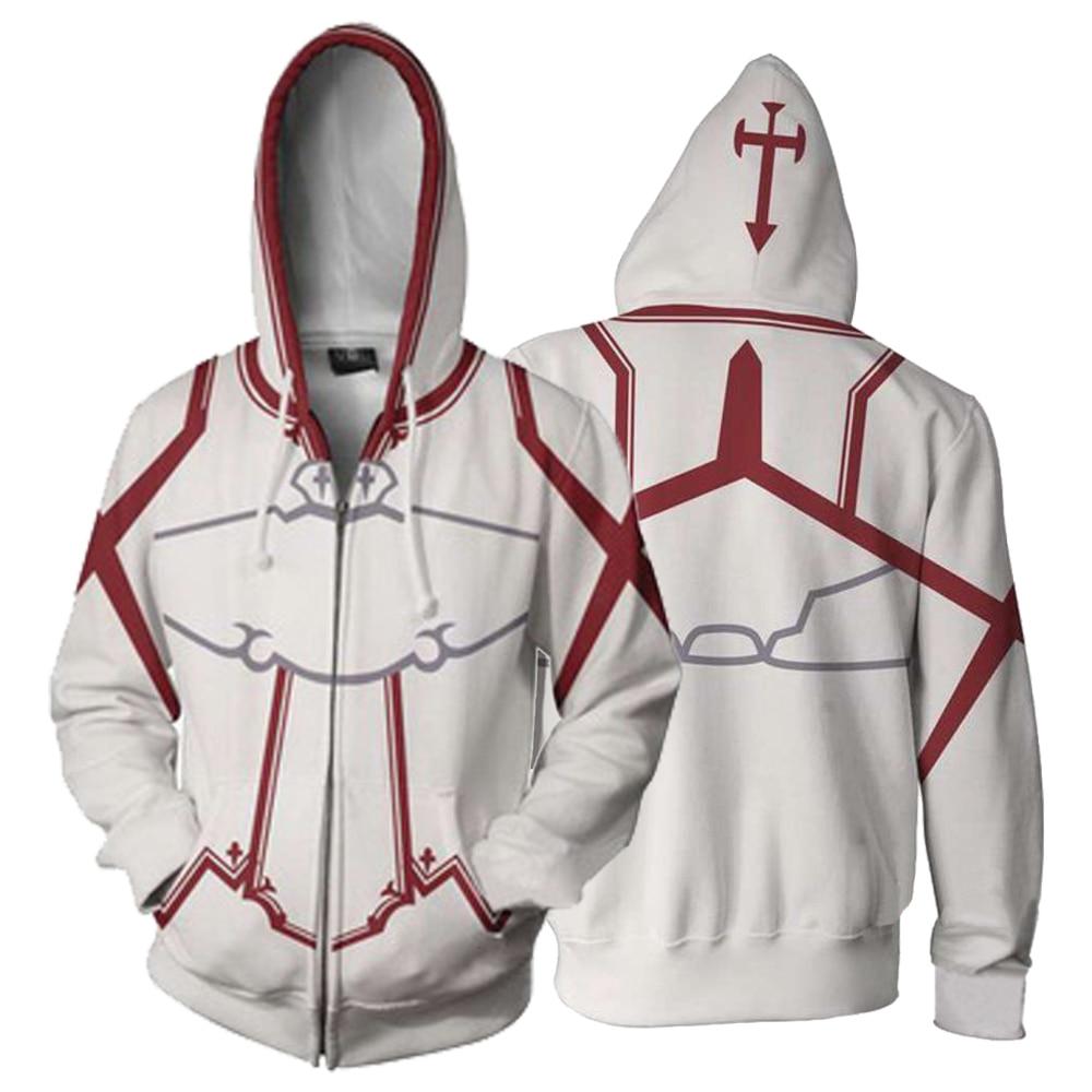 Sword Art Online 3D Printing SAO Yuki Asuna Cosplay Costume Adult Casual Zip up Hoodie Sweatshirt White