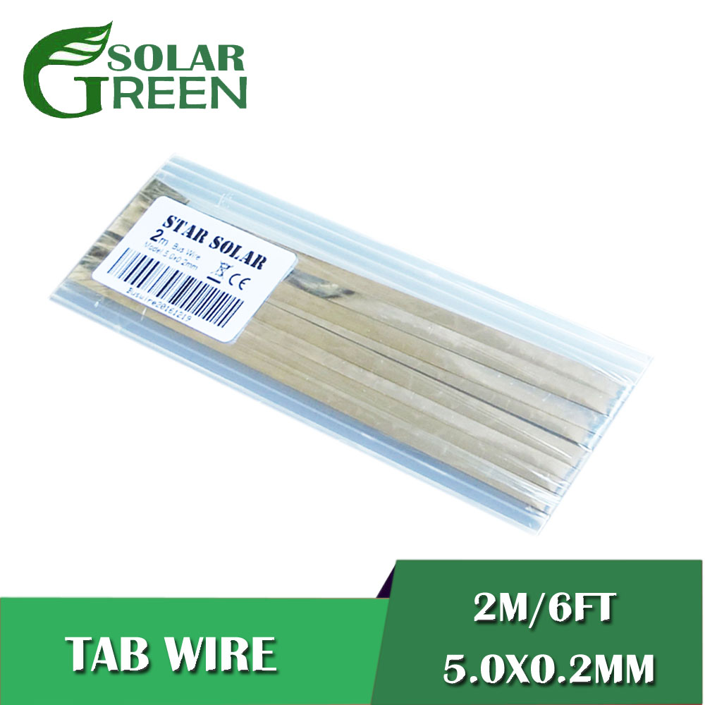 PV Ribbon Tabbing Wire For DIY Solar Panel 2m/LOT 6ft 5.0x0.2mm Solar Cells Tab Bus Bar Wire For Connect Strip Solar Panel
