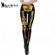 цена на [You're My Secret] Classic Gold Skeleton Leggings For Women Fashion 3D Print Halloween Costume Sport Legings Workout Ankle-Pants