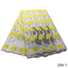 Wholesale African Mesh Lace Fabrics High Quality Milk Fiber Nigeria Wedding Dress Water Soluble Guipure Fabric 204
