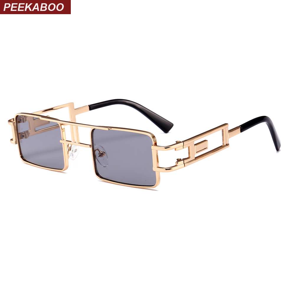 Peekaboo mens rectangular sunglasses steampunk men metal frame gold black red flat top square sun glasses for women 2018