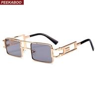 Peekaboo retangular dos homens óculos de sol homens steampunk armação de metal  ouro preto red flat b4b132b8c3
