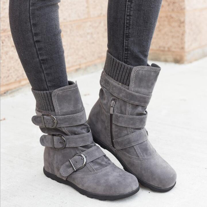 Tangnest New Women Winter Boots Warm Suede Buckle Strap Snow Boots Platform Casual Thick Cotton Shoes Woman Mujer Booten XWX7076Tangnest New Women Winter Boots Warm Suede Buckle Strap Snow Boots Platform Casual Thick Cotton Shoes Woman Mujer Booten XWX7076
