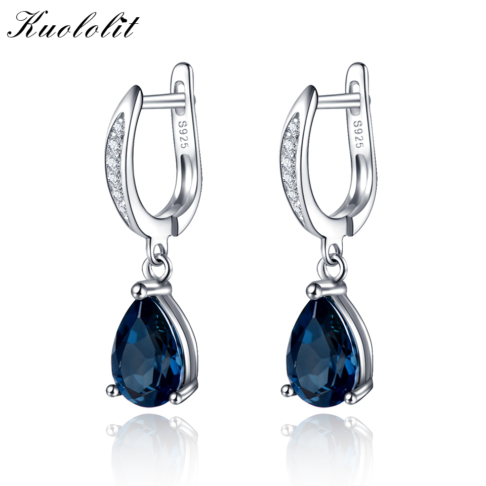 Kuololit Lundon Blue Topaz Earrings For Women Solid 925 Sterling Silver Earrings Trendy Elegant Drop Valentine Gift Jewelry New