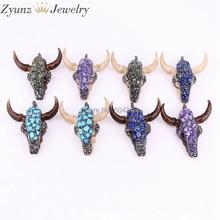 5 sztuk ZYZ302 6655 Rhinestone kamienie Pave żywica wół głowy Buffalo bydło róg wisiorek biżuteria dla naszyjnik moda wisiorek