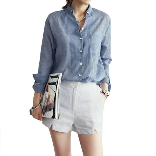 dc874b6b877843 Fashion Blouses Ladies Women s Button Down Long Sleeve Blouse Cotton Shirts  Loose Tops-in Blouses   Shirts from Women s Clothing on Aliexpress.com