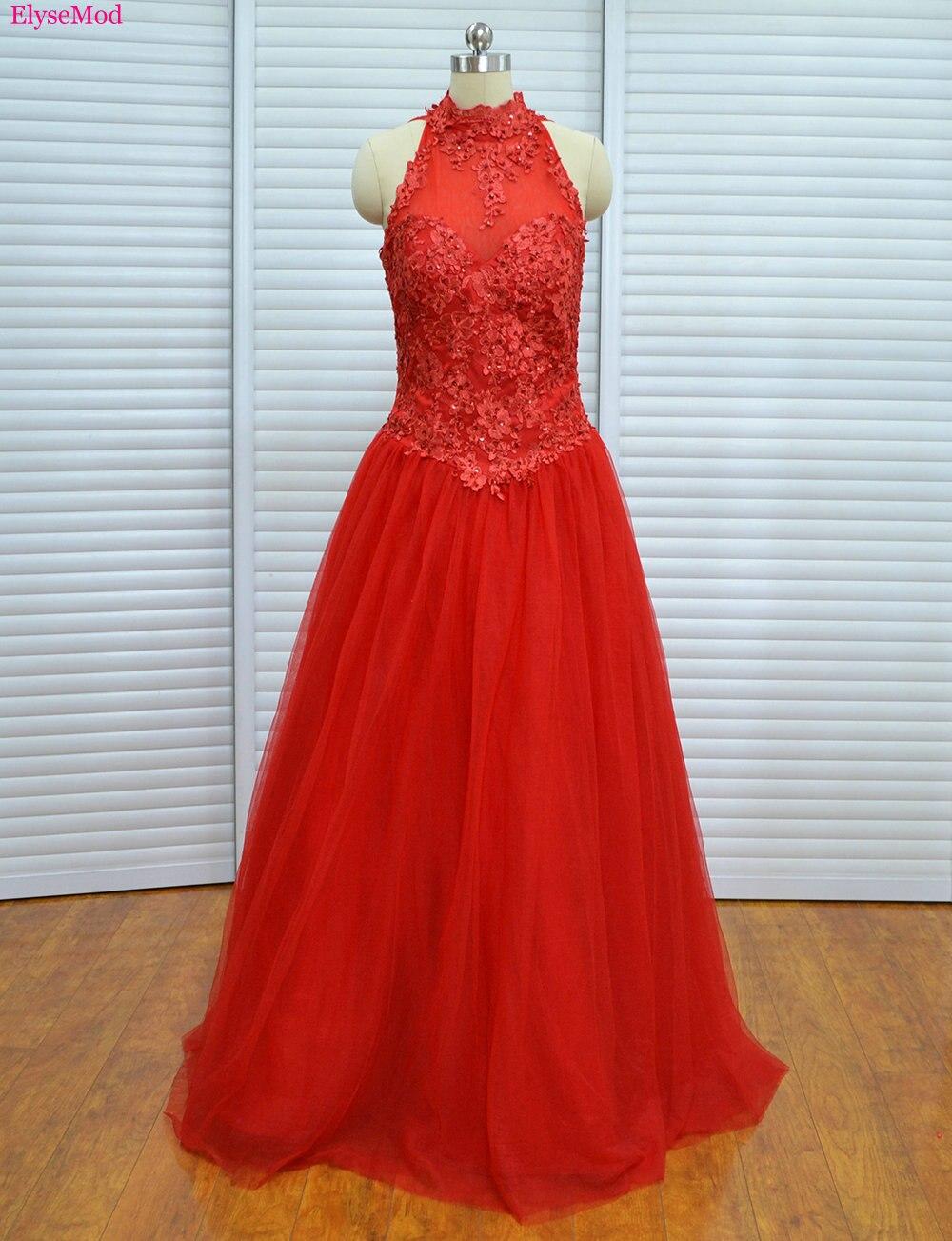 Pas cher Photo réelle col haut robes 2017 Debutante douce 16 à lacets robes de princesse robe de bal robes de Quinceanera rouge