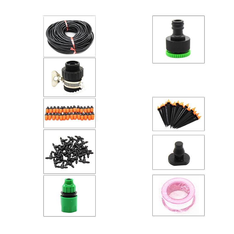 25M Diy Micro Drip Irrigation Watering Kits System With Adjustable Drippers Automatic Controller For Garden Greenhouse Watering Kits     - title=