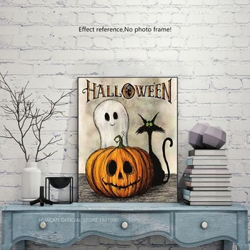 HUACAN Halloween Diamond Painting Cartoon Diamond Embroidery Pumpkin Full Square Ghost Diamond Painting