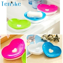 Home Supplies Hot Selling New Toilet Soap Silicone Holder Plate Bathroom Heart Shape Soapbox Soap Dish drop shipping 0519