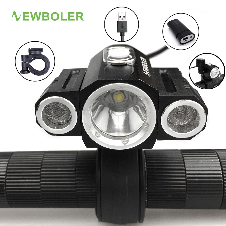 NEWBOLER X3 Bicycle Light 8000 Lumens 3 Mode XM-L T6 LED Cycling Front Light Bike light Lamp Torch+ Battery Pack + USB cable solarstorm x3 bicycle light 8000 lumens 4 mode xm l t6 led cycling front light bike light lamp torch battery pack charger