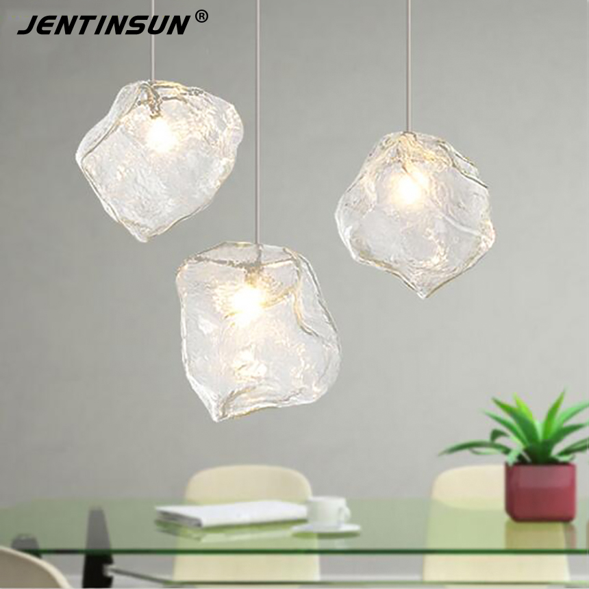 3 Heads Ice Cubes Pendant Light Polygon Glass Stone