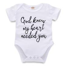 Забавный маленький хлопковый боди с короткими рукавами для малышей с надписью «God known My Heart», белый комбинезон для мальчиков и девочек, летняя одежда для младенцев