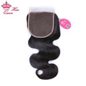 Image 3 - Queen productos para el cabello con cierre de encaje, pieza libre, cabello virgen brasileño, cuerpo ondulado, 100%, cabello humano, Color Natural, cierre de gran tamaño