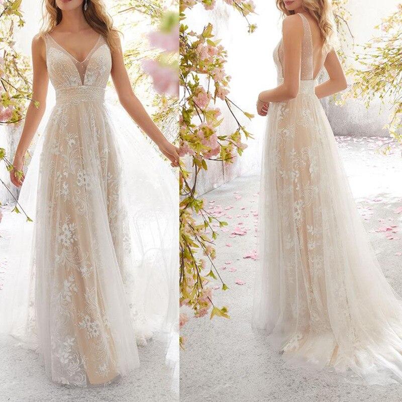 Nouvelle robe gothique en dentelle blanche pour mariée profonde col en V brillance maille flore longueur de plancher élégante robe de princesse Slim femmes robes