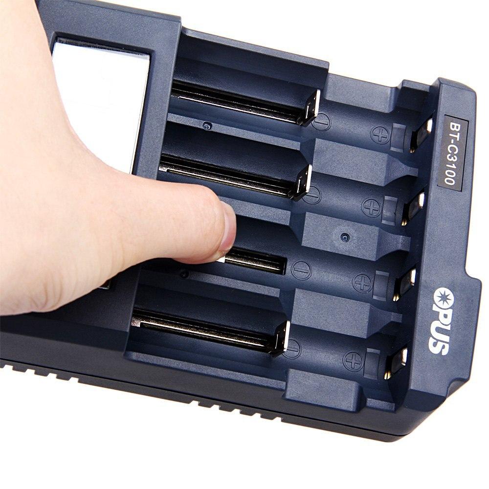 Original Opus BT-C3100 V2.2 Smart Digital inteligente 4 LCD ranuras cargador de batería Universal para batería recargable enchufe de UE/EE. UU.