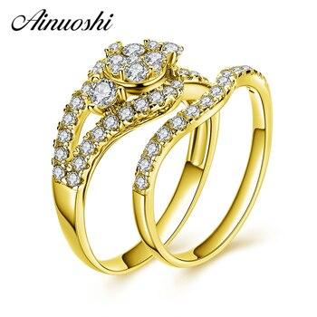 bdfa35f9420c AINUOSHI 10 K sólido oro amarillo anillo nupcial conjunto corte redondo  Splendid SONA diamante anillo de Boda del compromiso de la mujer joyería  regalo